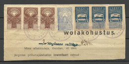 ESTLAND Estonia 1919 Revenues Documentary Stamps Stempelmarken On Document (debt Sertificate) Cut Out - Estonie