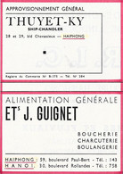 Carte Publicitaire -  THUYET-KY - HAIPHONG - Ets J. GUIGNET - HAIPHONG - HANOI - Tarjetas De Visita