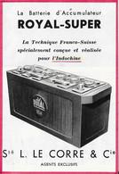 Carte Publicitaire -La Batterie D'Accumulateur ROYAL-SUPER  Conçue Et Réalisée Pour L'Indochine- Sté L. LE CORRE & Cie - Tarjetas De Visita