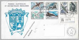 21 - TAAF 55/60 Série Complète Sur Pli 1.1.76.TERRE ADELIE - 1ère Date, Recommandé Sans Cachet D'arrivée  FAUNE - - French Southern And Antarctic Territories (TAAF)