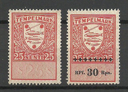 ESTLAND Estonia O 1939/43 Revenue Tax Documentary Stempelmarke 25 Senti With And Without German Occupation OPT (*) - Estonie
