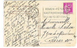 FLIER ROUEN FETES GASTRONOMIQUES OCT 35 SUR CPA - Marcophilie (Lettres)