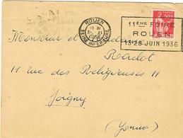 FLIER ROUEN 11E FOIRE SUR LETTRE DAGUIN DE JOIGNY EN ARRIVEE - Marcophilie (Lettres)
