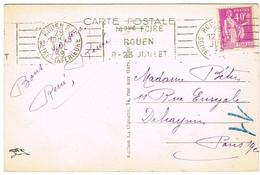 RBV ROUEN 14E FOIRE SUR CPA - Marcophilie (Lettres)