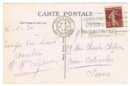 FLIER ROUEN 5E CENTENAIRE JEANNE D'ARC SUR CPA - Marcophilie (Lettres)