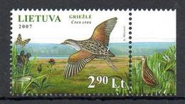 LITUANIE. N°827 De 2007 Oblitéré. Râle Des Genêts. - Cranes And Other Gruiformes
