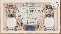 Blt7- Billet MILLE 1000 FRANCS Type CERES Et MERCURE PARIS 7 Décembre 1939 FH Alphabet A.8560 -831 N°213975831 - 1 000 F 1927-1940 ''Cérès Et Mercure''