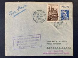 Lettre Paris Aviation Afrique Sud Johannesburg 1953 Première Liaison Avion Réaction Timbre Marianne Gandon étranger - Air Post