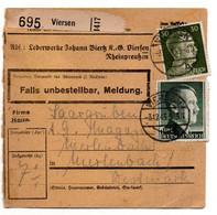 Allemagne  //  Colis Postal  //   De Viersen  //   3-12-43 - Briefe U. Dokumente