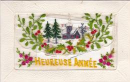 TRES BELLE CARTE BRODEE PAYSAGE DE NEIGE   / PORTE CARTE / HEUREUSE ANNEE / PETITE CARTE A L INTERIEUR - Firstnames