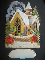 Ancien Porte Lettres Cartonné Gaufré Chromo Paillettes Oiseaux Fleurs Sapin Neige église - Victorian Die-cuts
