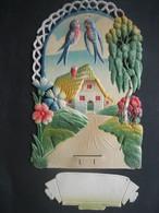 Ancien Porte Lettres Cartonné Gaufré Chromo Paillettes Hirondelles Fleurs Arbre Maison - Victorian Die-cuts