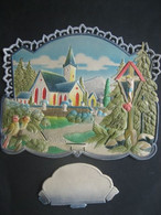 Ancien Porte Lettres Cartonné Gaufré Chromo Paillettes Eglise Sapins Oiseaux Christ - Victorian Die-cuts