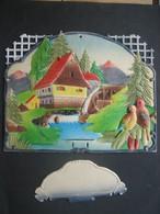 Ancien Porte Lettres Cartonné Gaufré Chromo Paillettes Maison Moulin Sapins Oiseaux - Victorian Die-cuts