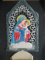 Ancien Porte Lettres Cartonné Gaufré Chromo Paillettes Vierge Marie Et L'Enfant Jésus - Victorian Die-cuts