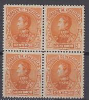 Venezuela Mi# 57 (*) Mint Block Of 4  50c 1901 - Venezuela