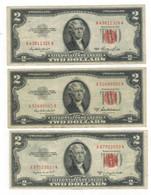 U.S.A. 2 Dollars 1953 X3 (1953-53A-53B), Crisp VF/VF+ Lot. - United States Notes (1928-1953)