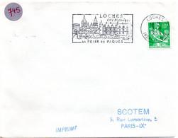 INDRE & LOIRE - Dépt N° 37 = LOCHES 1959 =  FLAMME Non Codée = SECAP Illustrée ' Cité Historique / FOIRE De PAQUES ' - Marcophilie (Lettres)