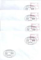 ATM107A Set Van 4 Vignetten Op Envelop Met 1e Dagstempel - 8500 Kortrijk 11-07-2002 - Obp 60 Euro - Frankeervignetten