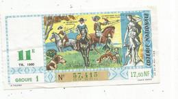 JC , Billet De Loterie Nationale,  11 E, Groupe 1, Onzième Tranche 1960, 17,50 NF,  La Chasse Au XVII E Siècle - Lottery Tickets