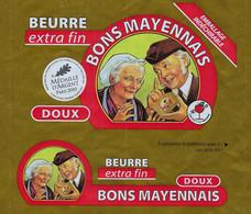Etiquette Feuille Papier Emballage Beurre  Doux Bons Mayennais  250g  Vaubernier Martigné 53 FR53146001CE - Formaggio