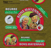 Etiquette Feuille Papier Emballage Beurre  Demi Sel Bons Mayennais  250g  Vaubernier Martigné 53 FR53146001CE - Formaggio