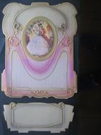 Ancien Porte Lettres Cartonné Gaufré Chromo Couple Romantique XIX ème Siècle - Victorian Die-cuts