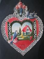 Ancien Porte Lettres Cartonné Gaufré Chromo Paillettes Hirondelles Fer à Cheval Fleurs - Victorian Die-cuts