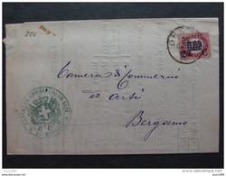 """220 ITALIA Regno-1878- """"Ondine"""" C. 2 Su 0,02 BRESCIA>BERGAMO (descrizione) - 1861-78 Vittorio Emanuele II"""