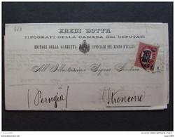 """463 ITALIA Regno-1878- """"Ondine"""" C. 2 Su 0,30 ROMA>STRONCONE (descrizione) - 1861-78 Vittorio Emanuele II"""
