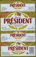 Etiquette Feuille Papier Emballage Beurre Président Macao 400g  FR3523905CE Export Roumanie - Formaggio