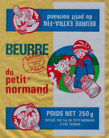 """Etiquette Feuille Papier Emballage Beurre Extra Fin Du Petit Normand  250g Vernon Eure 27 """" Enfant, Vache"""" - Formaggio"""