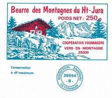 """Etiquette Feuille Papier Emballage Beurre Des Montagnes Du Haut Jura 250g  Coop Fromagere Vers En Montagne 39 """" Vaches, - Formaggio"""