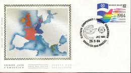"[66198]TB//-N° 2133 - FDC - Election Parlement Européen - ""BRUXELLES-1049-BRUSSEL"", EUROPE, Colombe, Soie, SNC - 1981-90"