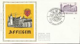 """[66252]TB//-N° 2149 - FDC - Abbaye D'Affligem - Obl """"GENT"""", Curiosité: Tache Sous Le Timbre, Soie, SNC - 1981-90"""