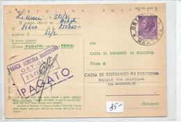 1965 CARTOLINA POSTALE 25£ CON STAMPA PRIVATA USATA COME RICEVUTA DA OSTIGLIA PER BOLOGNA - Entiers Postaux
