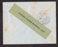 India: Field Post Cover, 1917, Censored, Rare Green Censor Label Opened Under Martial Law, War (minor Discolouring) - 1911-35 King George V
