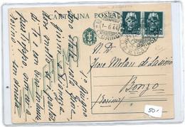 RSI GIUGNO 1944 CARTOLINA POSTALE VINCEREMO 15C. PER BONZO RICOPERTA CON COPPIA IMPERIALE 15C - Entiers Postaux