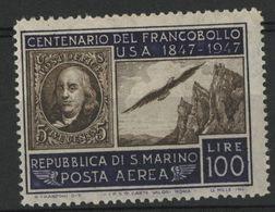 SAINT-MARIN POSTE AERIENNE N° 66 COTE 30 € NEUF ** MNH 1947 EFFIGIE DE BENJAMIN FRANKLIN - Airmail