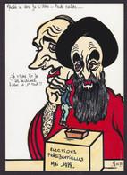 CPM Iran Perse Tirage Limité 4 Ex Numérotés Signés Non Circulé Khomeiny Chirac Dessin Original Fait Main - Iran