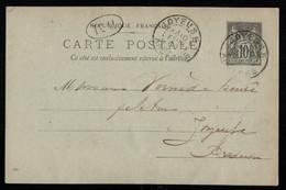 France Entier Postal Cachet BM Boite Mobile Joyeuse Ardéche Ruoms 10/02/1900 Molinage Vernéde Henri - Standaardpostkaarten En TSC (Voor 1995)