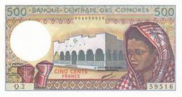 BILLET-BANQUE  CENTRALE DES COMORES 500 Fr - Comoren