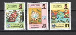 BRUNEI N° 500 à 502 NEUFS SANS CHARNIERE COTE  4.00€  ESPACE TELECOMMUNICATIONS   SULTAN - Brunei (1984-...)