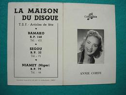 Petit Calendrier 1955 - Annie Cordy - La Maison Du Disque Bamako Segou Niamey Mali Niger - Columbia - Kalender
