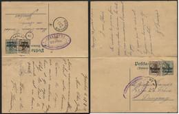 Entier CP N°2 +3c Obl. CHARLEROI Vers Gosselies 1916 + Volet Réponse Attaché GOSSELIES Vers Dampremy - [OC1/25] Gen. Gouv.