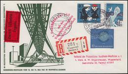 1. Postbeförderung Wuppertaler Schwebebahn MiF Eil-R-Bf SSt WUPPERTAL 13.5.61 - Timbres