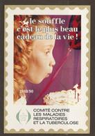 AUTOCOLLANT ADHÉSIF STICKER COMITÉ CONTRE LES MALADIES RESPIRATOIRES ET LA TUBERCULOSE 1989 1990  - DENTELÉ - Stickers