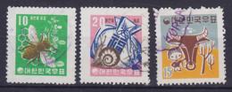 South Korea 1960 Mi. 300-01, 318 Honey Bee Honigbiene Schnecke Shell Knabe Mit Ochsenkopf - Corée Du Sud