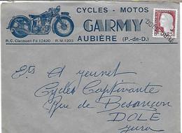 Enveloppe Cycles Motos GARMY Aubière Puy De Dôme Griffe Linéaire Dole Jura - Advertising