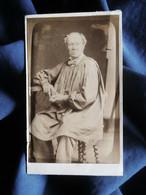 Photo CDV A. Niveault à Paris - Beau Portrait Vieil Homme En Blouse, Circa 1885-90 L521B - Alte (vor 1900)